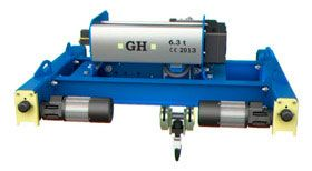 Double girder electric hoists on end carriage for cranes
