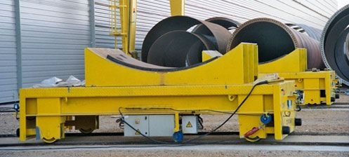 Battery powered transfer carts on rails for cranes
