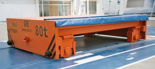 Cable reel powered transfer carts on rails for cranes